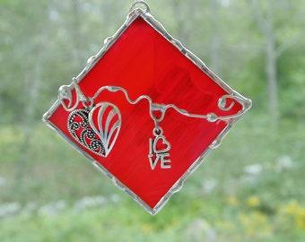 Stained glass suncatcher ornament, red heart love gift under 20 for teacher mom Anniversary friendship, unique ooak simple window decor