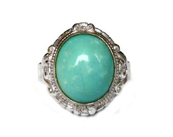 Clark and Coombs, Vintage Ring, Sterling Silver, Turquoise Glass, Ladies Jewelry, Size 4.5