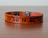 Skinny Latitude and Longitude Leather Cuff with Adjustable Snap Closure