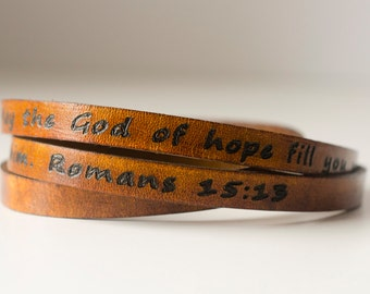 Scripture Bible Verse Leather Wrap Bracelet - Romans 15:13May the God of hope fill you with all joy