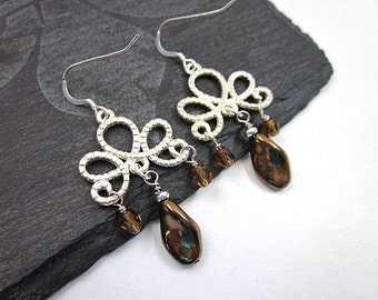 Brown & Silver Dangle Earrings -- Brown Glass Earrings -- Brown Drop Earrings -- Brown Crystal Dangles -- Brown Jewelry -- Scroll Earrings