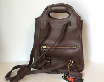 90's Coach Backpack Purse / Leather Handbag / Brown Leather Bag / Nineties Back Pack Purse