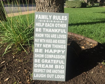 Adorable and Fully Customizable Family Rules Wood Sign - Perfect For Your Home - Family Rules Sign - Personalized Gift