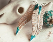 SALE - Feather Earrings - Tooled Leather Handmade and Hand Painted White and Turquoise Jewelry - Mesa Dreams - Turquoise Southwestern