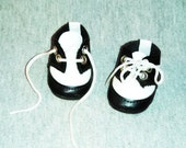 Doll Shoes, New, Saddle Style in Black and White