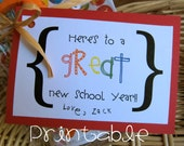 Printable- PDF- Back to School Printable gift tag- new school year, teacher or student gift idea