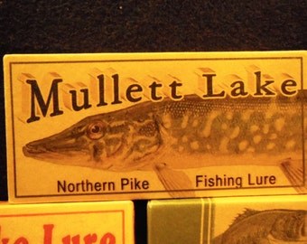 Mullett Lake fishing cabin lake house decor fishing lure boxes 4YourLake