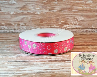 Pink with Silver Bubbles  7/8 inch Ribbon