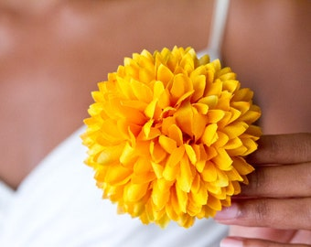 Pineapple Pom Pom Hair Flower // Yellow Chrysanthemum Hair Clip // Silk Flower for Natural Hair