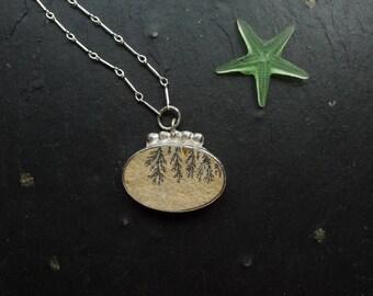 DENDITRIC LIMESTONE PENDANT, spring jewelry,  one of a kind, boho pendant, organic jewelry, sterling jewelry