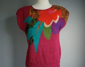 Vintage 80s MAGENTA Short sleeve Pullover Sweater Jumper (m)