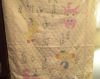Yellow Embroidered Baby Quilt 1980s Animals Cross Stitching