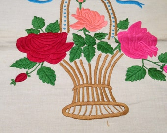 2 Pillow Covers with Embroidered Flower Vase and Basket Unfinished Needlework for Framing Shabby Chic Pillow Covers