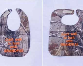 Can't wait to hunt with GRANDPA - Small OR Large Baby Bib - FREE Shipping to U.S.