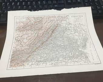 Circa 1910 virginia state map .Great for framing! Free shipping. 8 1/2 x 11 paper image 7x10.
