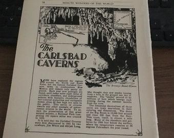 Carlsbad Caverns New Mexico 1933 book page history print illustration .