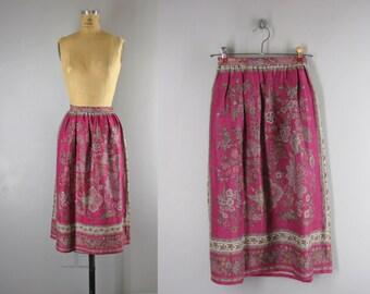 1970s skirt / 70s linen blend skirt / Jacobean skirt