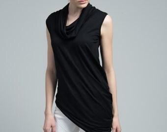 NEW Sleeveless Top / Black Asymmetric Blouse / Black Top / Turtleneck Shirt / Oversize Top / Casual Tunic / marcellamoda - MB616