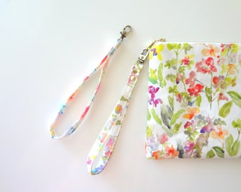 Wristlet Detachable Handle, Watercolor Floral Fabric, Bag Handle