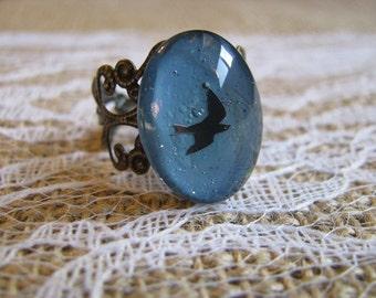 Blue Sparrow Nail Polish Ring