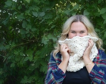 Ready to Ship Chunky Crochet Cowl, Crocheted Scarf, Chunky Knit Neck Warmer, Crochet Winter Infinity Scarf, Women's Warm Winter Accessory