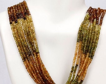 "ON SALE Petro Tourmaline Rondelles, Faceted Rondels, Green, Brown, Gold - 6.5"" Strand - 2.6mm"