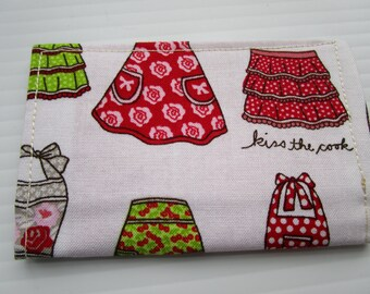 SALE - Aprons, Kiss the Cook, Fabric Credit Card Wallet, Business Card Holder, Gift Card Holder, Small Wallet, Chevrons, Loyalty Card Holder