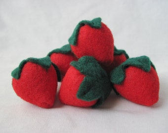 Felt Strawberry Play Food