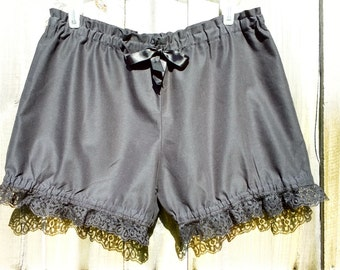 Black Small bloomers with black lace ready to ship free