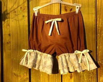 Brown bloomers with double wide flowered ruffles