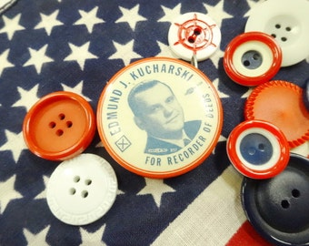 Vintage Political Patriotic Pocket Tape Measure Dated 1956 Vote Republican PLUS A Few Sewing Notions lot