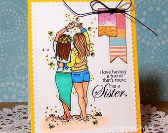 Like A Sister Friendship Beach Tropical Handmade Card