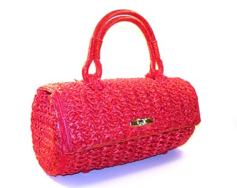 Sexy Vintage 1960s Cherry Red Straw Raffia Handbag, Long Oval Barrel Purse by Sharonee - Hand Made