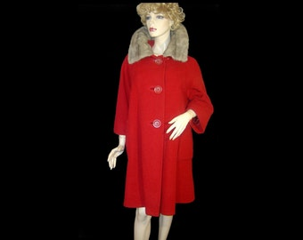 British Angorvela 1950s coat - Medium Large 10 12 ~ wine red angora wool ~ gray mink fur ring collar oversize buttons 3/4 sleeve 50s jacket