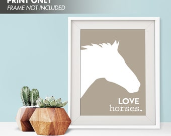 LOVE HORSES - Art Print (Featured in Truffle Brown) Love Animals Art Print and Poster Collection