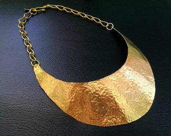 Hammered Gold Bib Collar Necklace-The Warrior Necklace