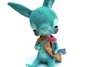 Ooak Spun Cotton, Turquoise, Baby Boy, Easter Bunny, Spring Art Doll