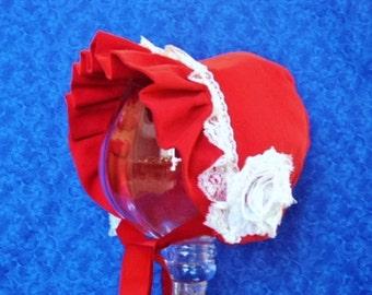 Red Infant Baby Bonnet Corduroy and Fleece