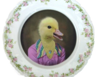 Delilah Duck, School Portrait - Altered Vintage Plate 7""