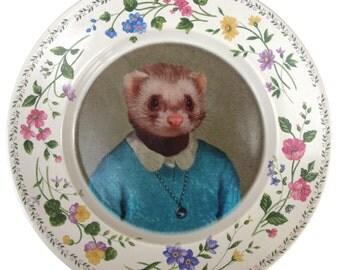 "Juliet Ferret School Portrait - Altered Vintage Plate 8"""