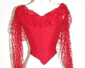 Red Victorian Bodice, Steampunk Top, Antique Top, Red Wool & Net Lace Bodice, Pointed Front Bodice