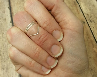Sterling silver ring free shipping midi first knuckle chevron band