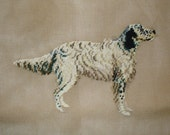 English Setter Preworked Needlepoint Canvas with Petit Point Mouth