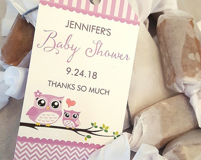 OWL BABY SHOWER Favors - Two Caramels each - Purple - Customized - Cute and delicious, your guests will love them