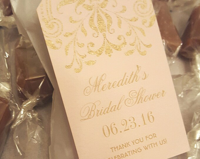 Pink & Gold EDIBLE BRIDAL Shower FAVORS - 2 Caramels each - Personalized and Custom Made - Beautiful and Delicious