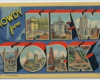 Howdy From New York City Large Letter Linen postcard
