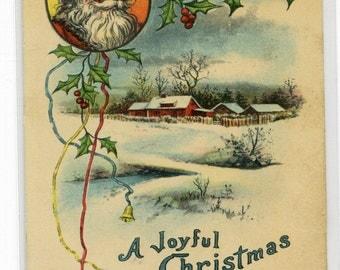 Santa Merry Christmas Joyful Winter Scene 1914 postcard