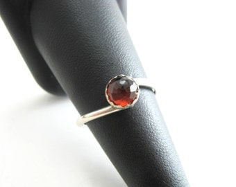 Handmade Faceted Rose Cut Garnet Bezel Set Sterling Silver Ring Sterling Silver Garnet Ring January Birthstone Ring Size 7.5 Ring