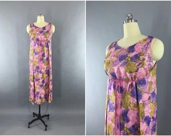 Vintage 1960s Dress / 60s Wrap Dress / Hawaiian Loungewear Maxi Dress / Pink Floral Print / Leisure Lovers