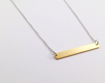 Gold Bar Necklace, Mixed Metal, Modern Jewelry, Handmade